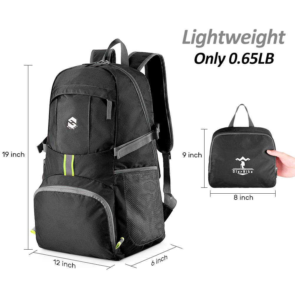 OlarHike Lightweight Travel Backpack, 35L Water Resistant Packable Traveling/Hiking Backpack Daypack for Men & Women, Multipurpose Use, Black - backpacks4less.com