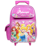 Disney Large Rolling Backpack Princess w/ Flowers Pink School Bag New a03887