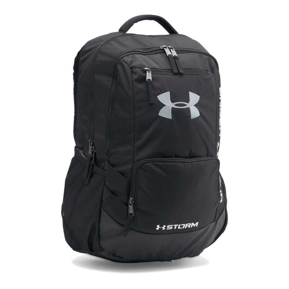 Under Armour Storm Hustle II Backpack, Black (001)/Silver, One Size Fits All - backpacks4less.com