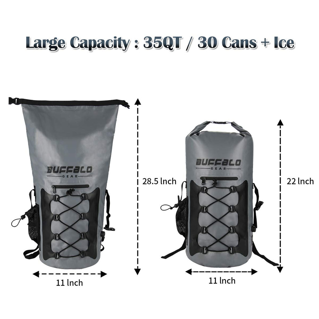Buffalo Gear 30 Cans Leak-Proof Soft Backpack Cooler Waterproof Insulated Soft Side Cooler Bag for Hiking, Camping, Sports, Picnics, Sea Fishing, Road Beach Trip - Grey,35 L - backpacks4less.com