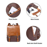 Zebella Womens Leather Backpack Vintage Laptop Brown Backpack Faux Leather Travel Daypack College School Bookbag for Women, Girls & Students - backpacks4less.com