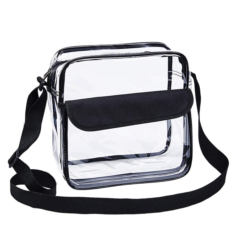Magicbags Clear Cross-Body Messenger Shoulder Bag, NFL and PGA Stadium Approved Clear Purse with Adjustable Strap - backpacks4less.com