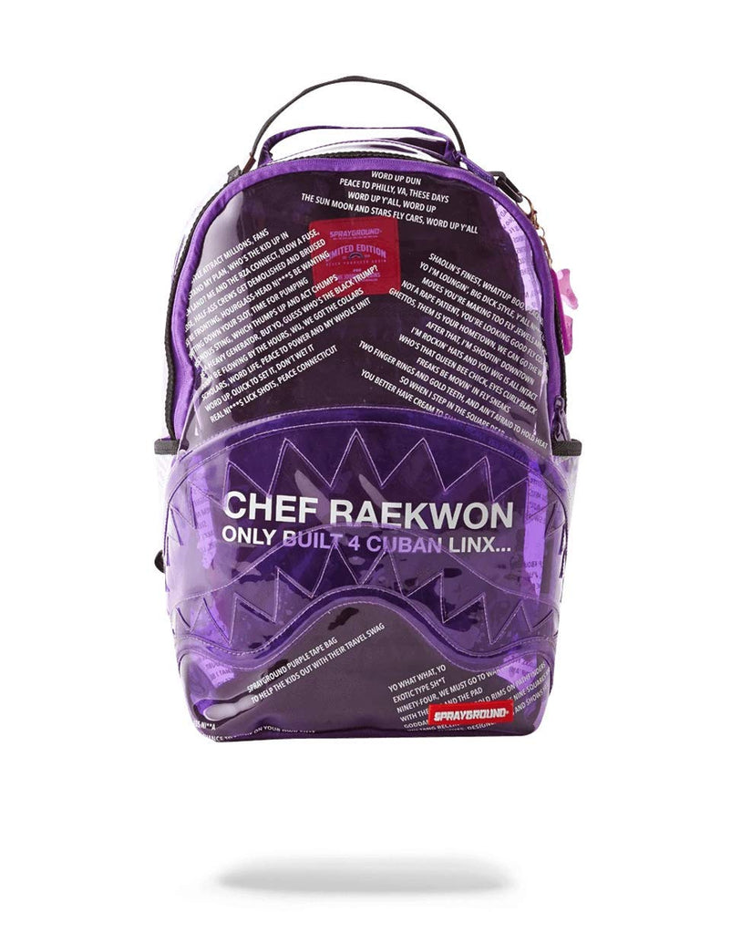 SPRAYGROUND BACKPACK PURPLE TAPE SHARK RAEKWON - backpacks4less.com