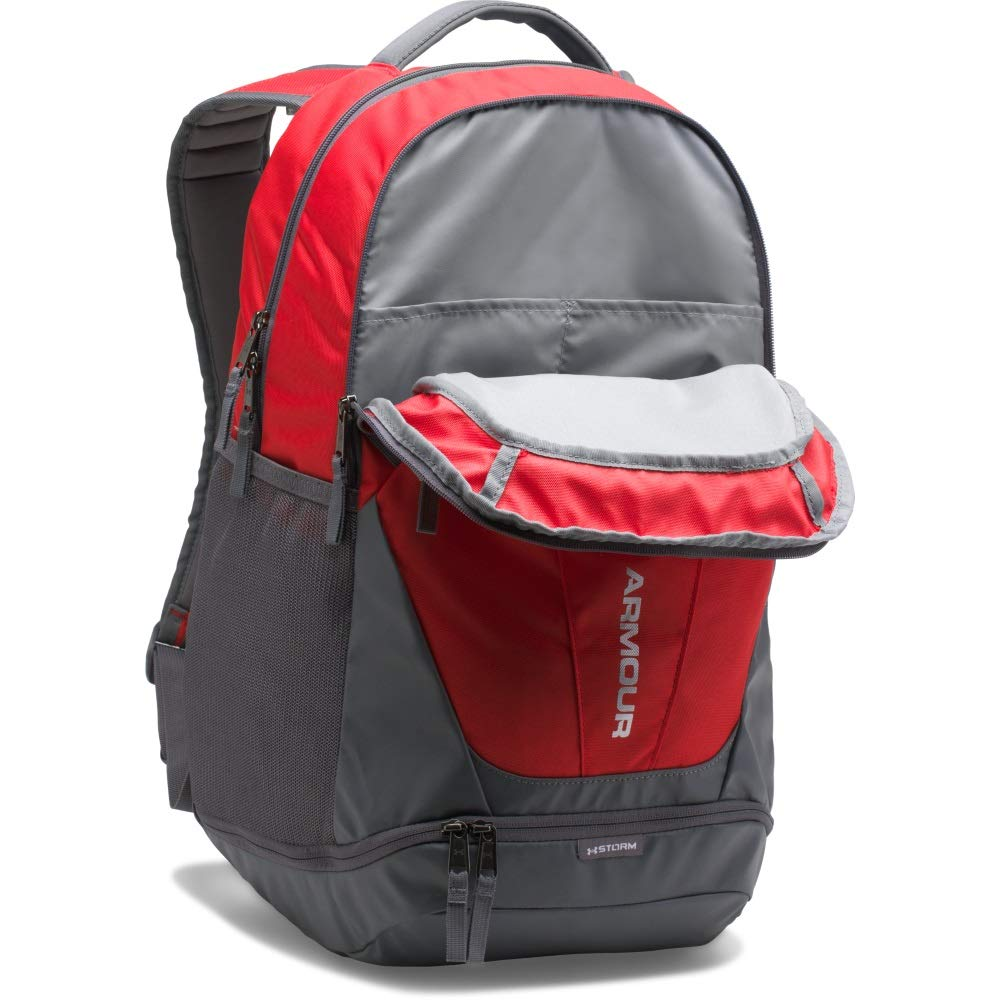 Under Armour Hustle 3.0 Backpack, Red (600)/Silver, One Size Fits All - backpacks4less.com