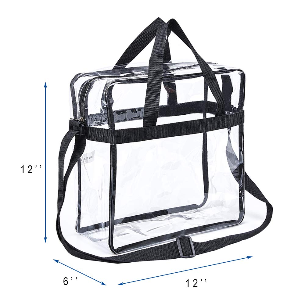 "Magicbags Clear Tote Bag,NCAA NFL&PGA Stadium Approved Clear Bag with Adjustable Shoulder Strap and Double Zippered,Perfect for Work, School , Sports Games and Concerts -12""X12""X6"" - backpacks4less.com"