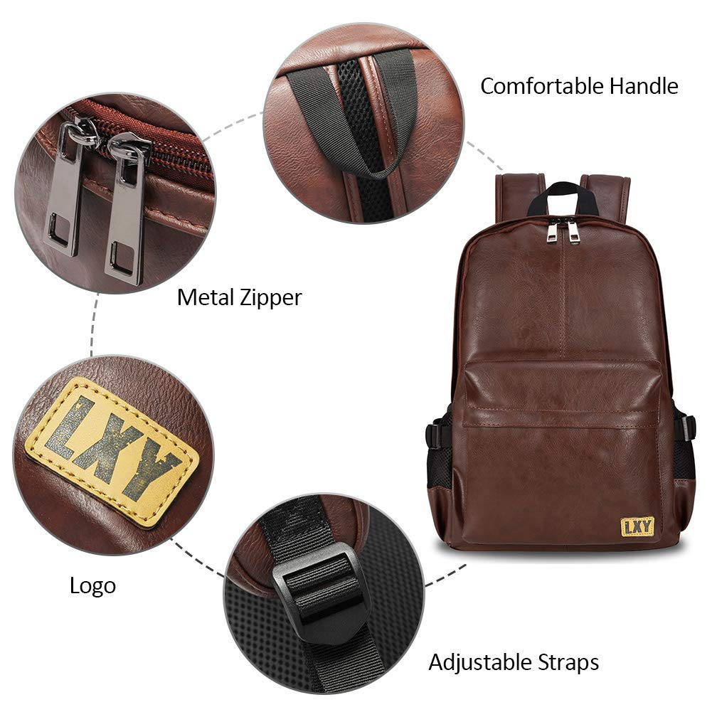 Vintage Backpack Leather Laptop Bookbag for Women Men, LXY Vegan Backpack Brown Faux Leather Bookbag School College Campus Backpack Travel Daypack - backpacks4less.com