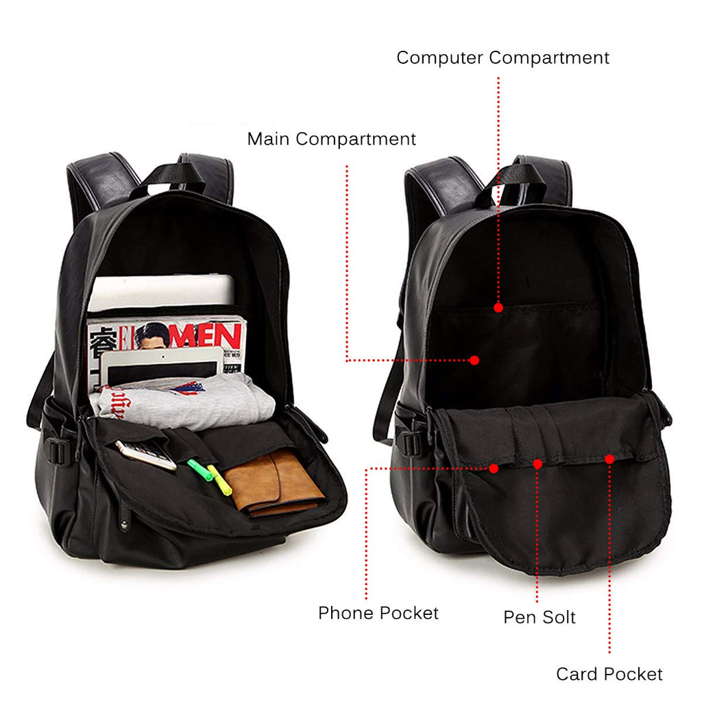 Vintage PU Leather Backpack, OURBAG Outdoor School College Bookbag fit Laptop Computer Backpack for Man and Woman - backpacks4less.com