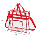 "Magicbags Clear Tote Bag Stadium Approved,Adjustable Shoulder Strap and Zippered Top,Stadium Security Travel & Gym Clear Bag, Perfect for Work, School, Sports Games and Concerts-12"" x12"" x6""(Red) - backpacks4less.com"
