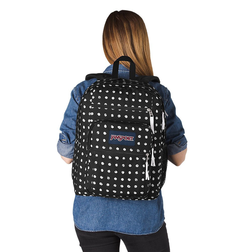JanSport Big Student Backpack - Black Sketch Dot - Oversized - backpacks4less.com