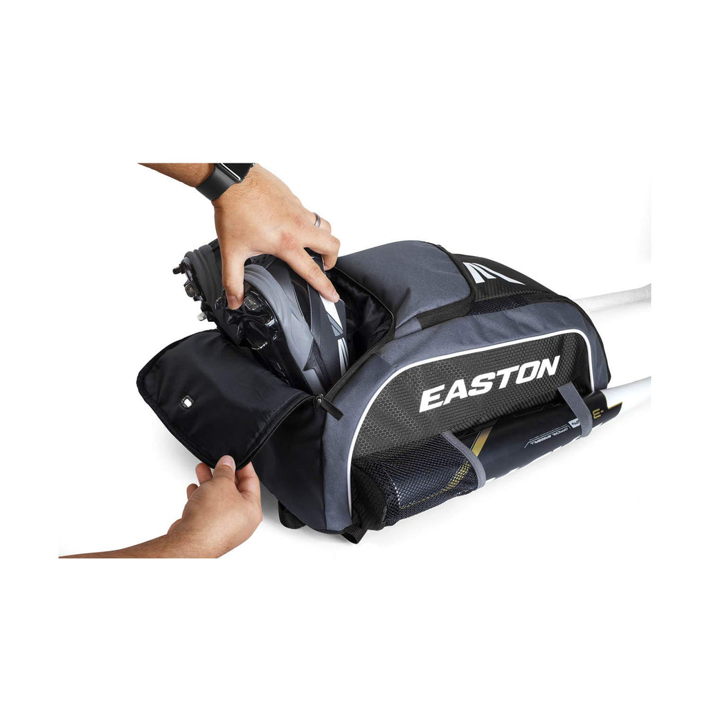 EASTON GAME READY Bat & Equipment Backpack Bag | Baseball Softball | 2020 | Black | 2 Bat Pockets | Vented Main Compartment | Vented Shoe Pocket | Zippered Valuables Pocket | Fence Hook - backpacks4less.com