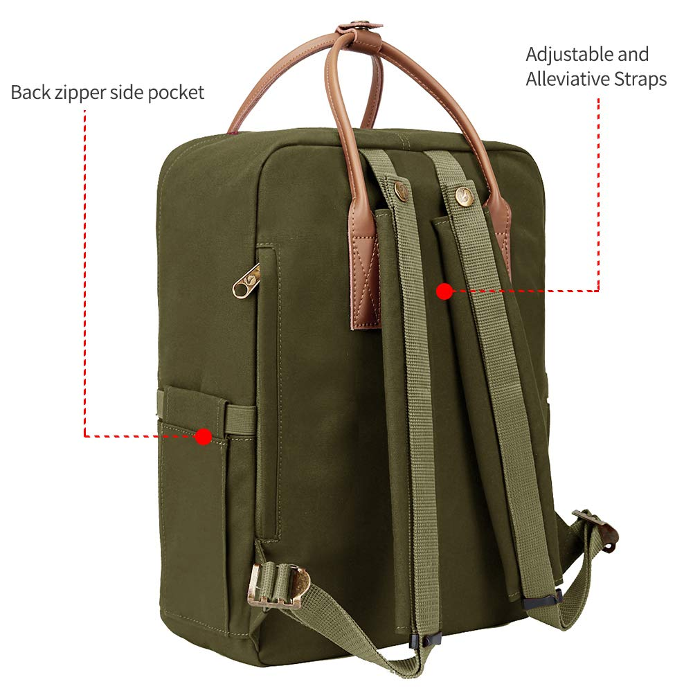 KALIDI Classic Backpack for Women,15 Inches Laptop Vintage Canvas Leather Backpack Camping Rucksack Travel Outdoor Daypack College School Bag (Army Green-Leather) - backpacks4less.com