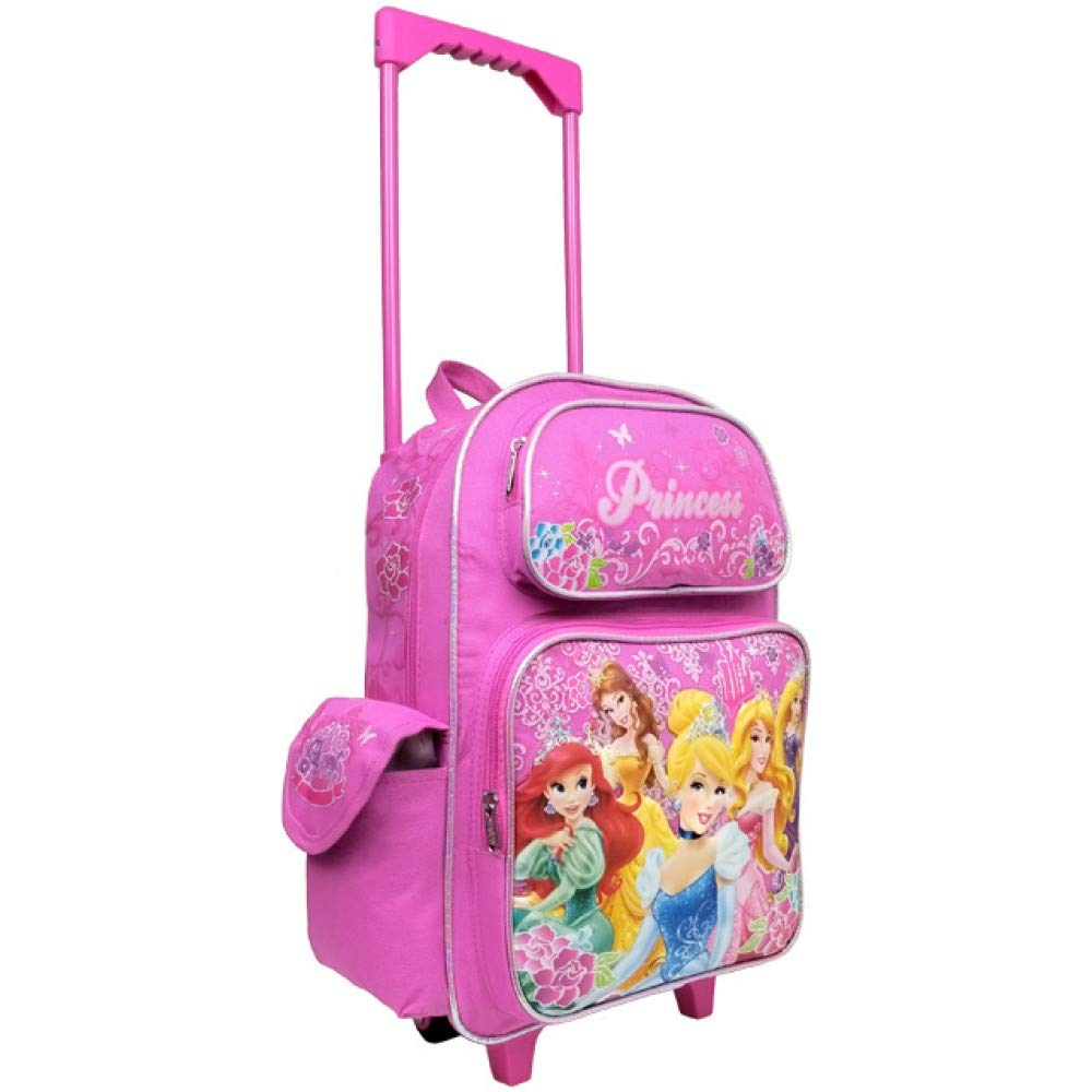 Disney Large Rolling Backpack Princess w/ Flowers Pink School Bag New a03887 - backpacks4less.com
