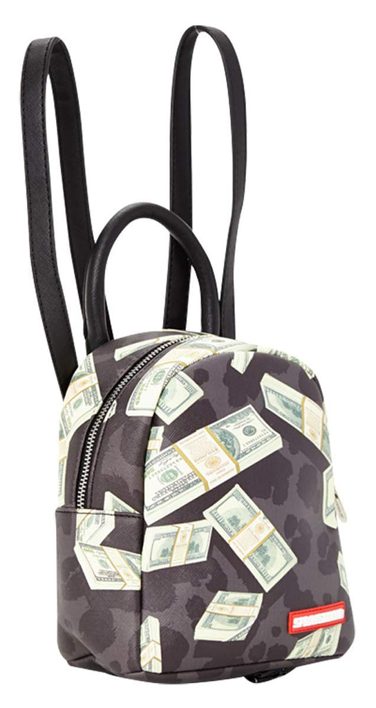 Sprayground Money on Black Leopard Mini - backpacks4less.com