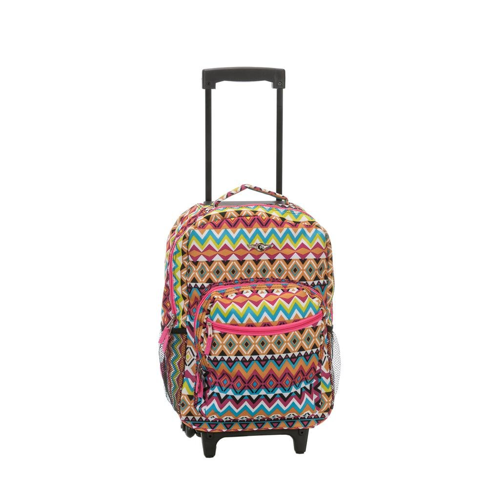 Rockland Luggage 17 Inch Rolling Backpack, Summer Tribal - backpacks4less.com