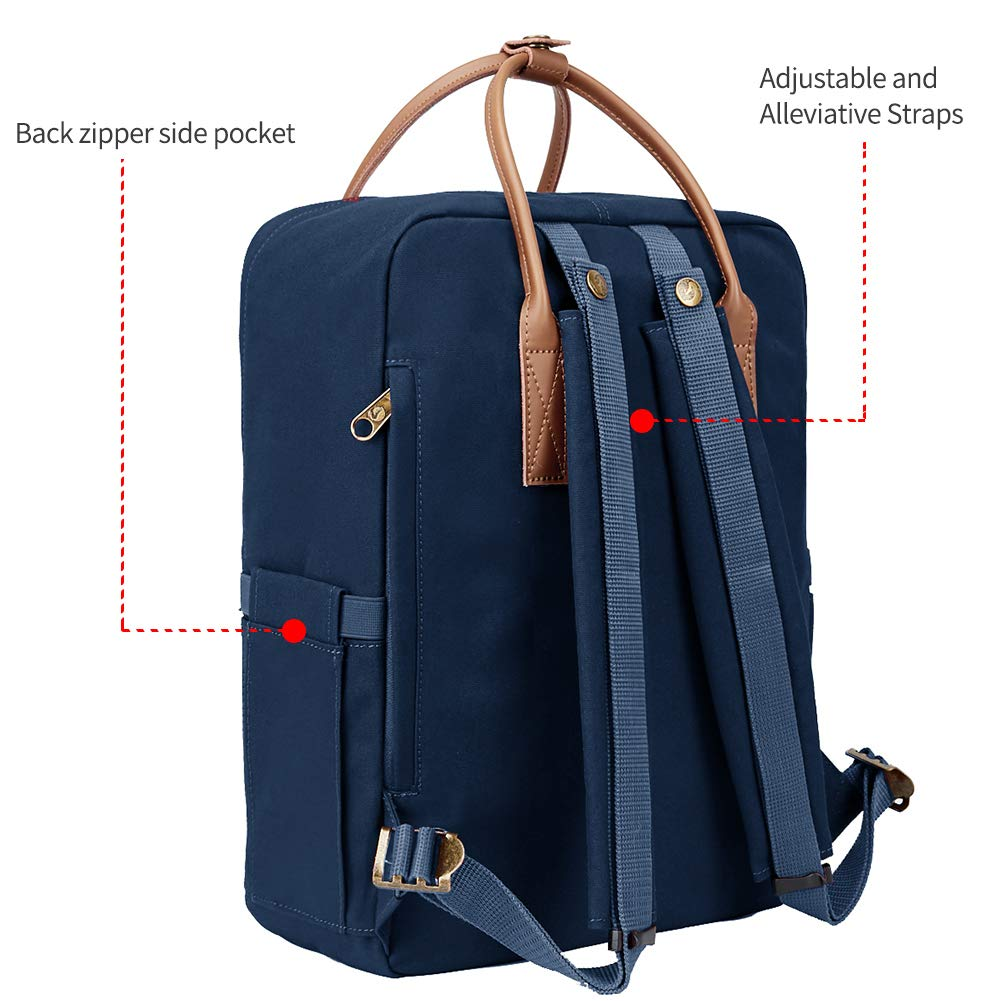 KALIDI Classic Backpack for Women,15 Inches Laptop Vintage Canvas Leather Backpack Camping Rucksack Travel Outdoor Daypack College School Bag (Marine-Leather) - backpacks4less.com