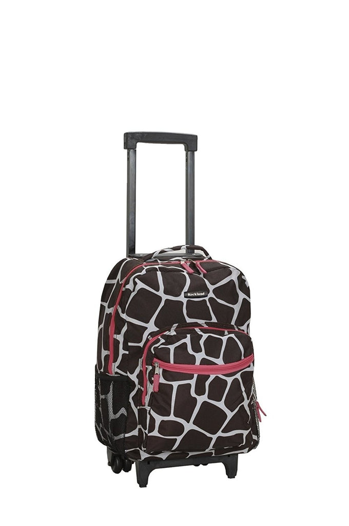 Rockland Luggage 17 Inch Rolling Backpack, GIRRAFE/PINK - backpacks4less.com