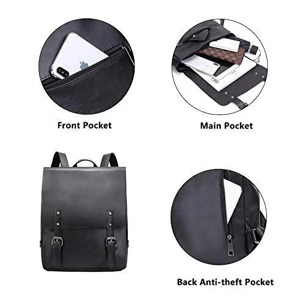 Zebella Womens Vegan Vintage Leather Backpack Faux Leather Laptop Backpack Travel Daypack College Bookbag-Black - backpacks4less.com