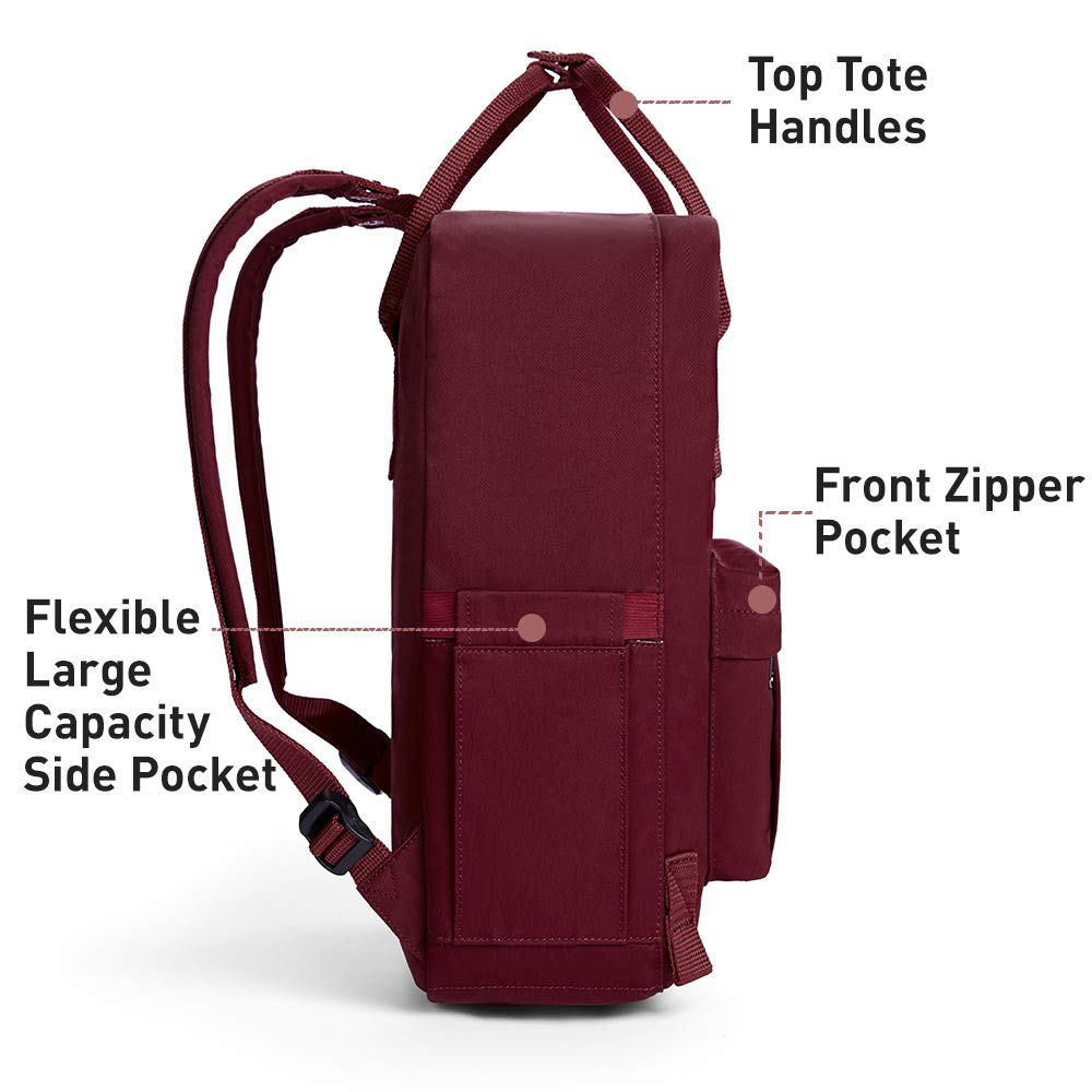 KALIDI Casual Backpack for Women,15 Inches Laptop Classic Backpack Camping Rucksack Travel Outdoor Daypack College School Bag (Wine Red) - backpacks4less.com