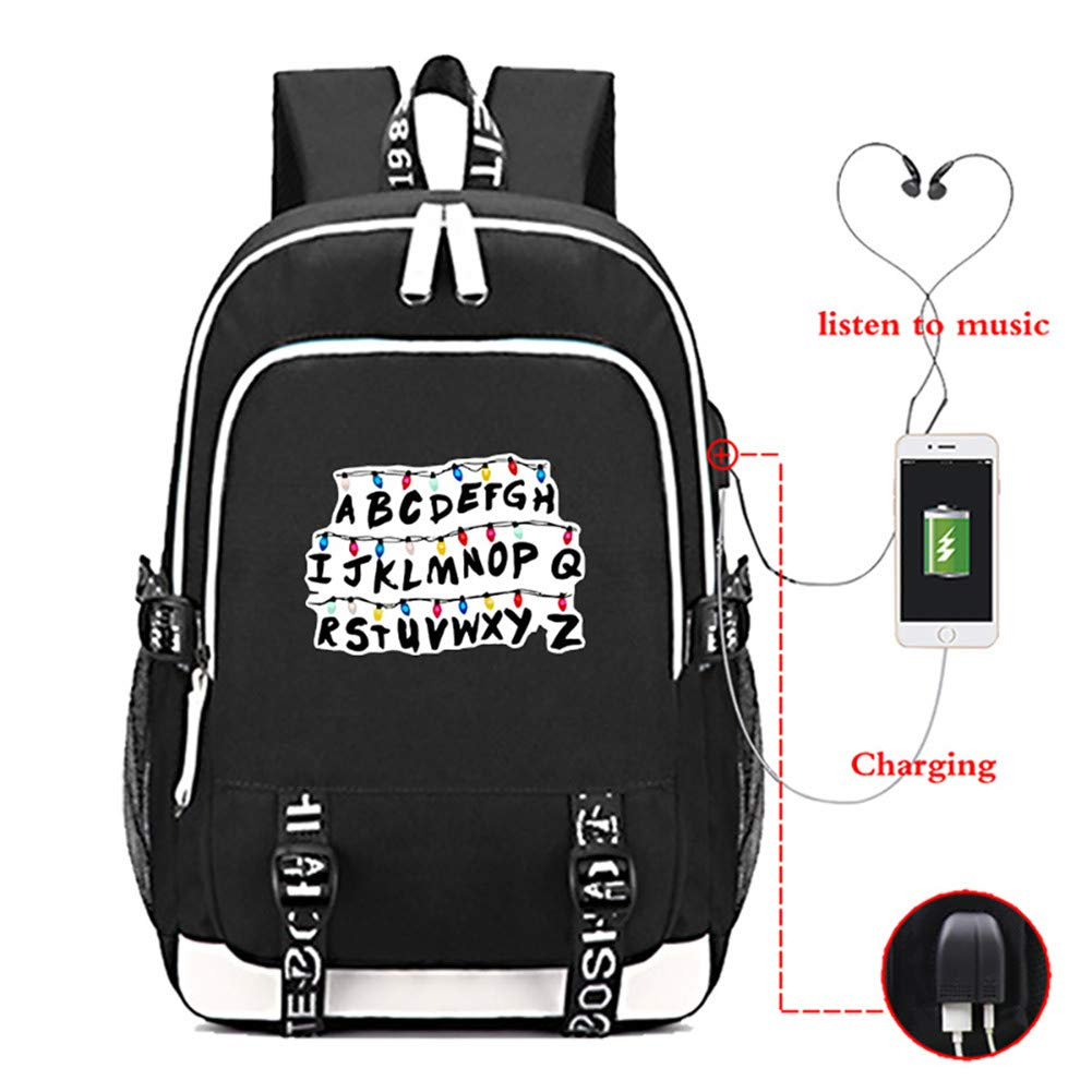 Stranger Things Backpack with USB Charging Port School Boys Girls Bookbag Laptop Backpack for Teens - backpacks4less.com