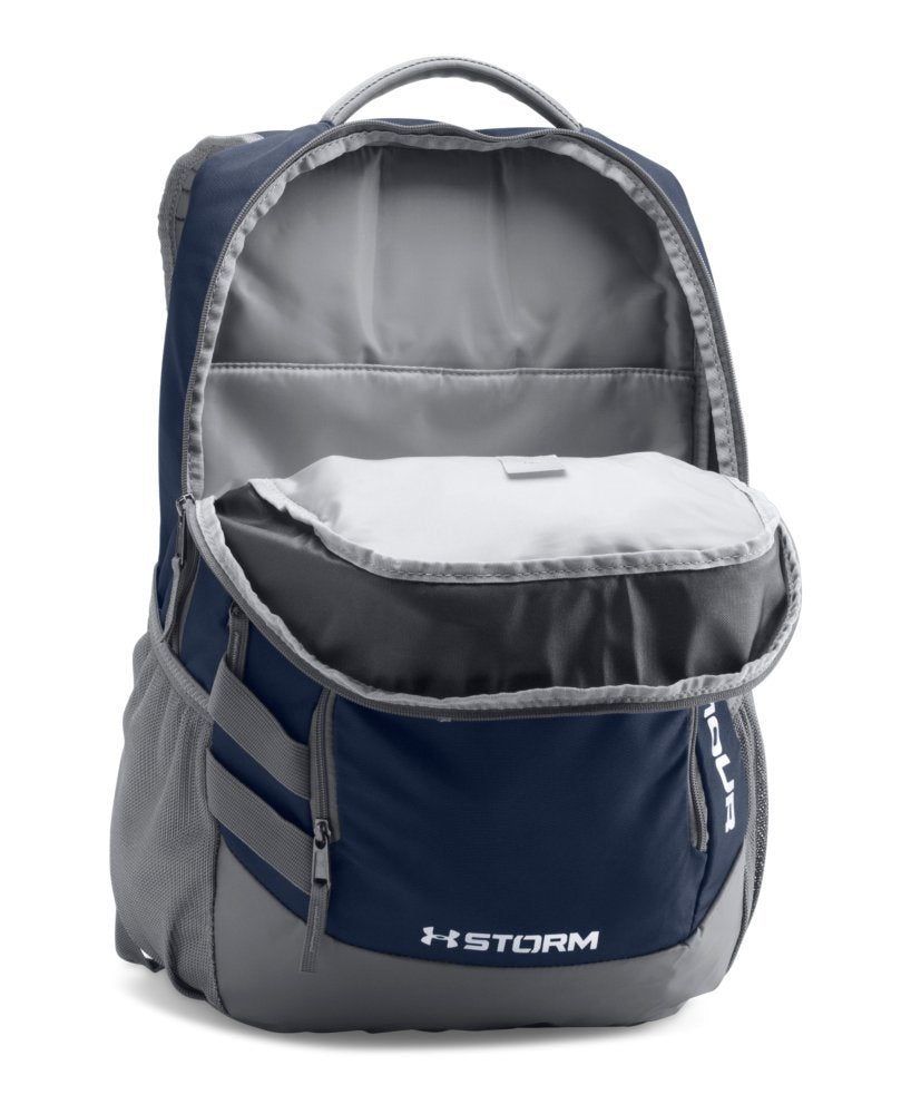 Under Armour Storm Hustle II Backpack, Midnight Navy (410)/Silver, One Size Fits All - backpacks4less.com