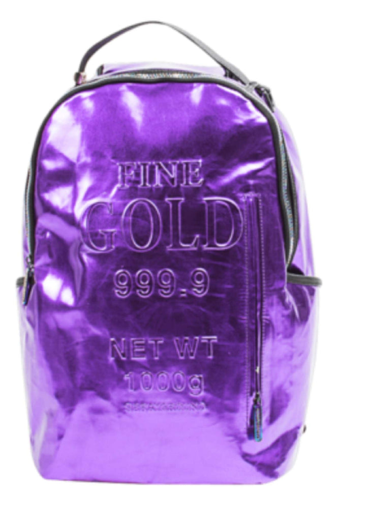 Sprayground Mens Sprayground Gold Brick Backpack 910B1748NSZ - Purple - backpacks4less.com