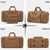 Plambag Canvas Duffle Bag for Travel, 50L Duffel Overnight Weekend Bag(Coffee) - backpacks4less.com