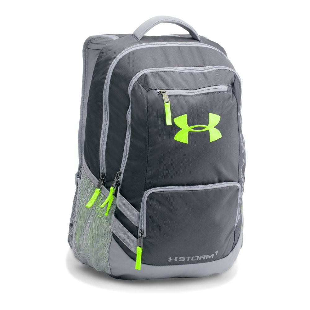 Under Armour Storm Hustle II Backpack, Stealth Gray (008)/Hyper Green, One Size Fits All - backpacks4less.com
