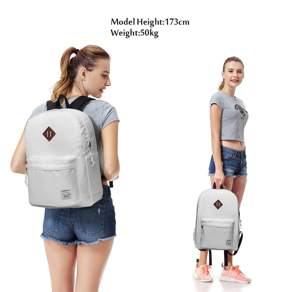 Lightweight Backpack for School, VASCHY Classic Basic Water Resistant Casual Daypack for Travel with Bottle Side Pockets (White) - backpacks4less.com