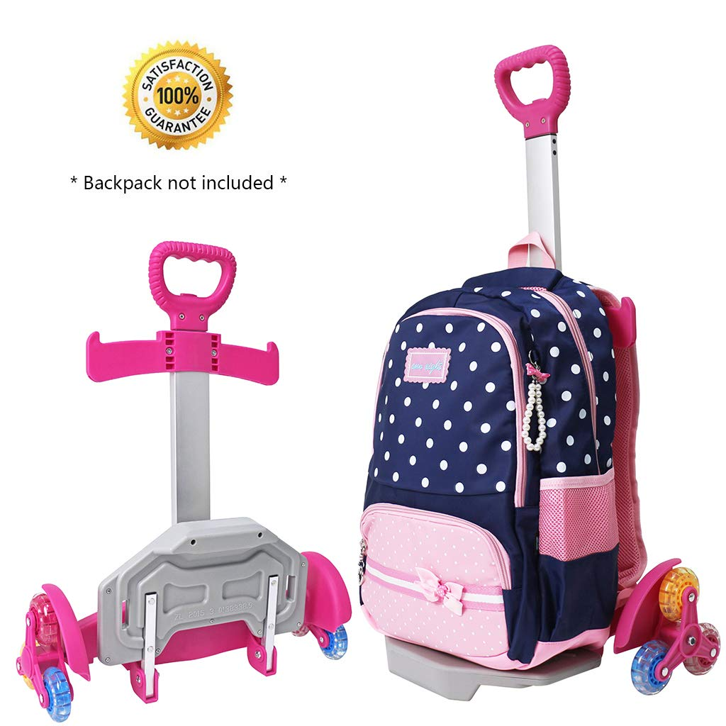 Wheeled Backpack Cart,Aluminium Alloy Folding Trolley Cart for Backpack (Pink, 6 Wheels) - backpacks4less.com