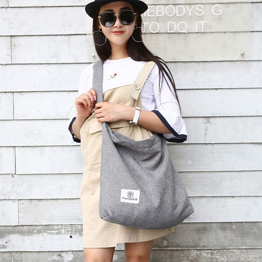 Fanspack Women's Canvas Hobo Handbags Simple Casual Top Handle Tote Bag Crossbody Shoulder Bag Shopping Work Bag (Light Grey) - backpacks4less.com