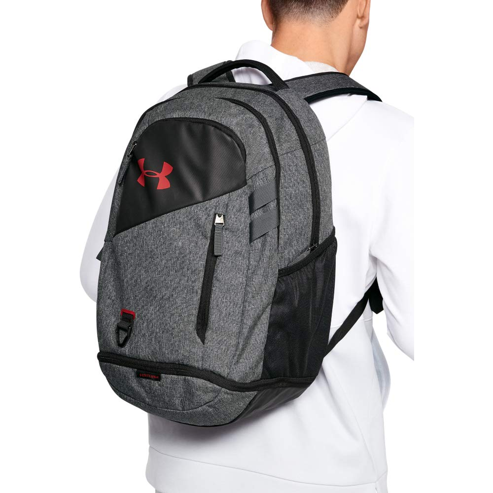 Under Armour Hustle 4.0 Backpack, Graphite (041)/Stadium Red, One Size Fits All - backpacks4less.com