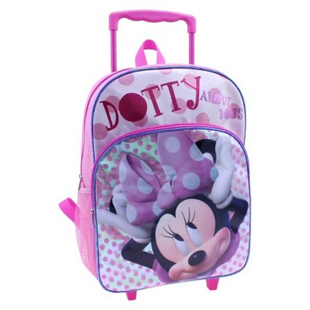"Disney 16"" Minnie Mouse Polka Dot Rolling Backpack Large Pink - backpacks4less.com"