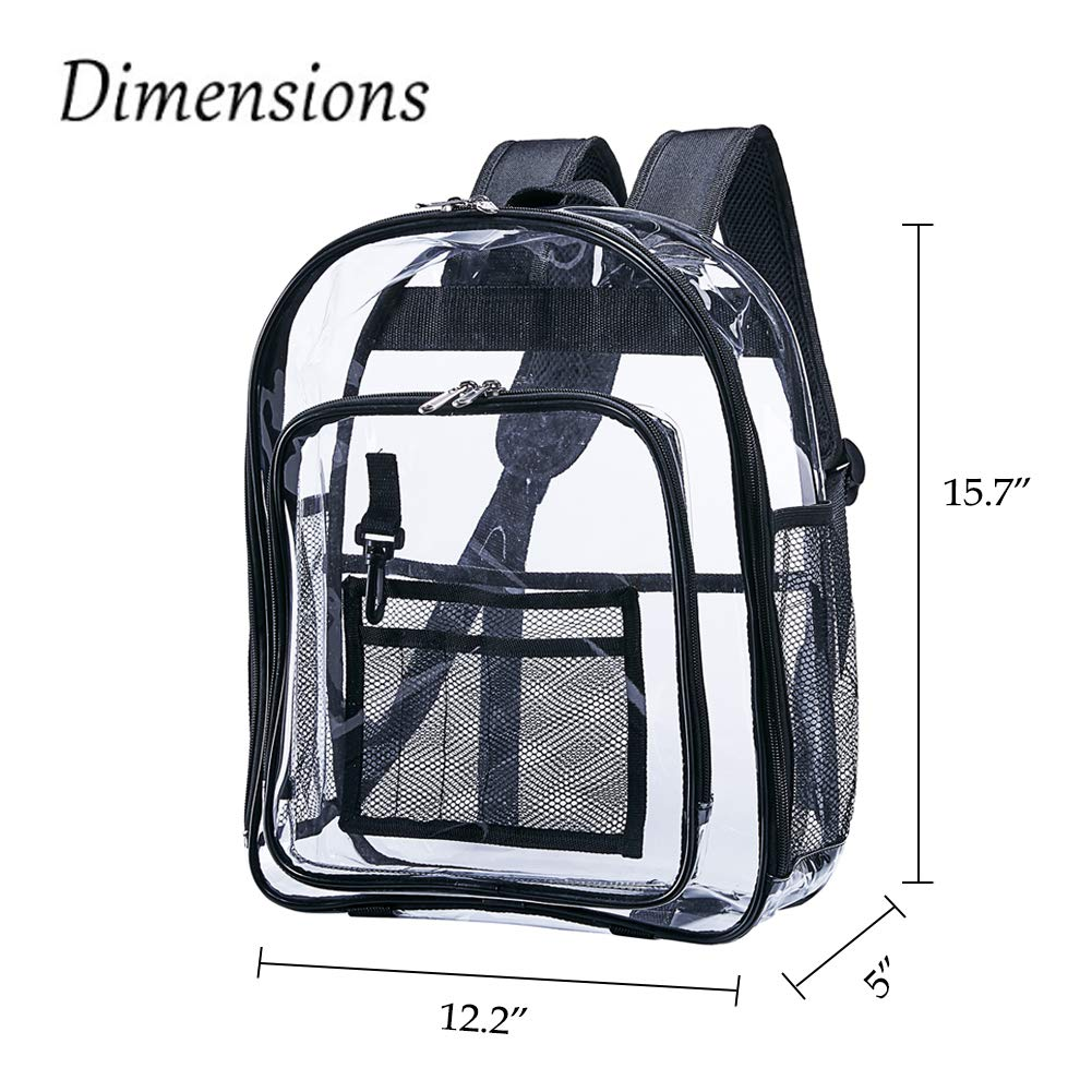 Heavy Duty Clear Backpack,Security Transparent Backpack,See Through Bookbag for Work, Security Check and Travel - backpacks4less.com