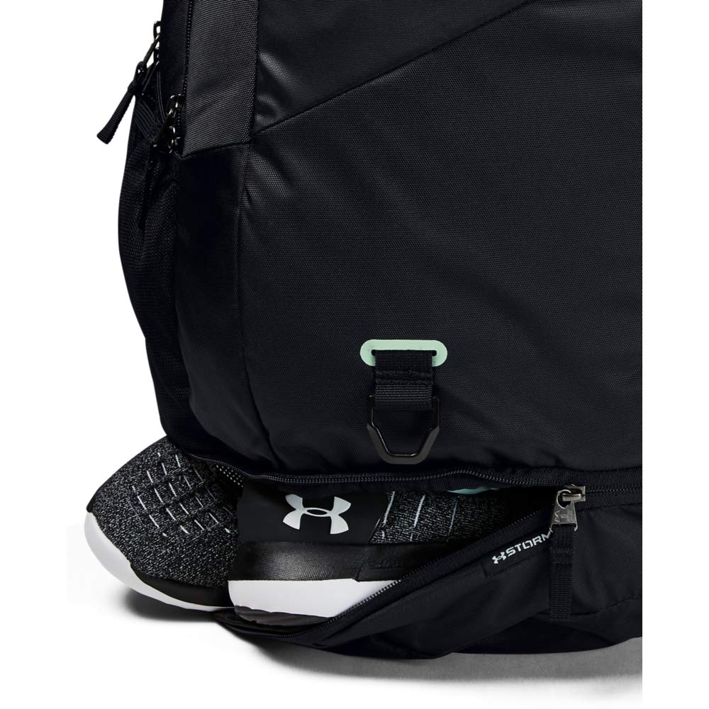 Under Armour Hustle 4.0 Backpack, Black (004)/Atlas Green, One Size Fits All - backpacks4less.com