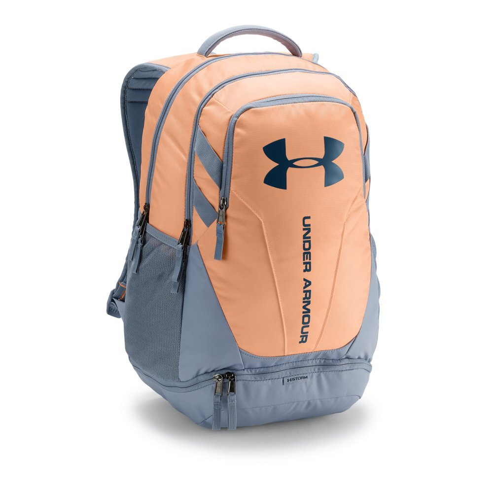 Under Armour Hustle 3.0 Backpack, Peach Horizon (906)/Techno Teal, One Size Fits All - backpacks4less.com