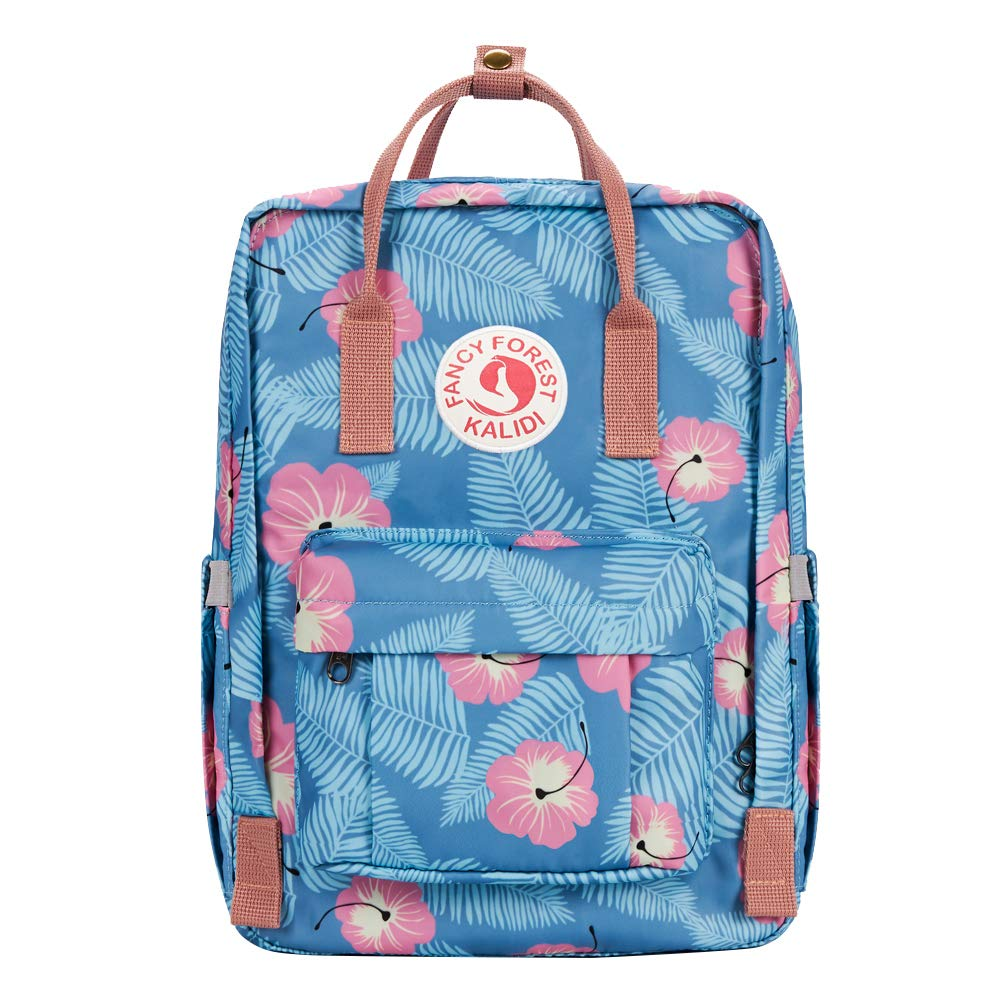 KALIDI Casual Backpack for Women,15 Inches Laptop Classic Backpack Camping Rucksack Travel Outdoor Daypack College School Bag (Blue Flower) - backpacks4less.com