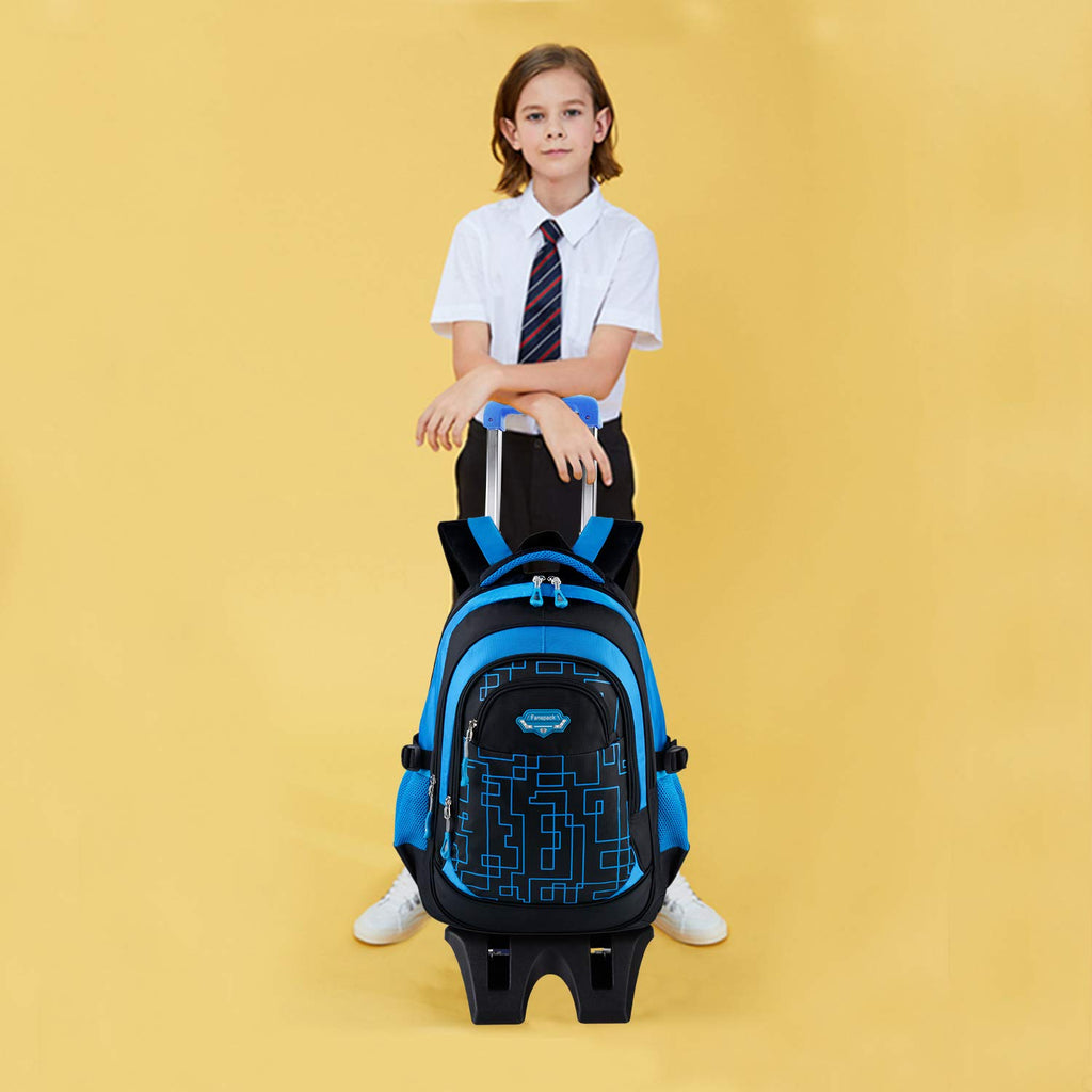Rolling Backpack, Fanspack Rolling Backpack for Boys Fashion Wheeled Backpack Laptop Backpack - backpacks4less.com
