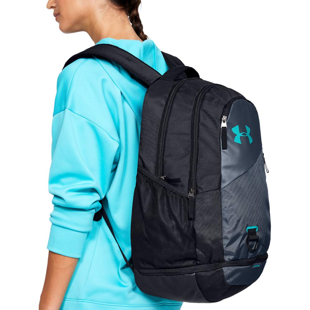 Under Armour Hustle 4.0 Backpack, Downpour Gray (044)/Breathtaking Blue, One Size Fits All - backpacks4less.com