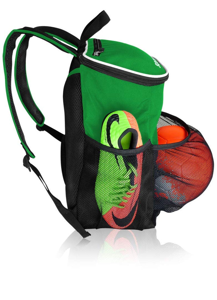 Soccer Backpack with Ball Holder Compartment - | Bag Fits All Soccer Equipment & Gym Gear (Black) (Green) - backpacks4less.com