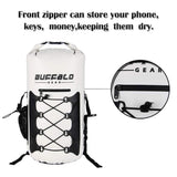 Buffalo Gear Portable Insulated Backpack Cooler Bag - Hands-Free and Collapsible, Waterproof and Soft-Sided Cooler Backpack for Hiking, The Beach, Picnics,Camping, Fishing - White,35 Liters,30 Can - backpacks4less.com