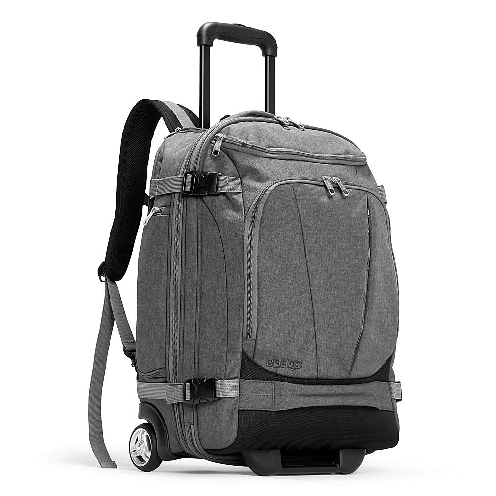 eBags TLS Mother Lode Rolling Weekender 22 Inch Travel Backpack with Wheels - Carry-On - (Heathered Graphite) - backpacks4less.com