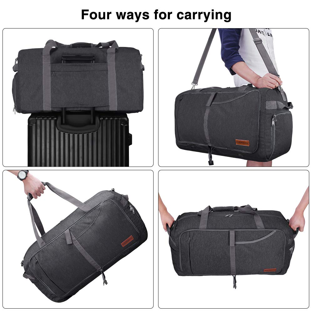 Canway 65L Travel Duffel Bag, Foldable Weekender Bag with Shoes Compartment for Men Women Water-proof & Tear Resistant (Panther Black, 65L) - backpacks4less.com