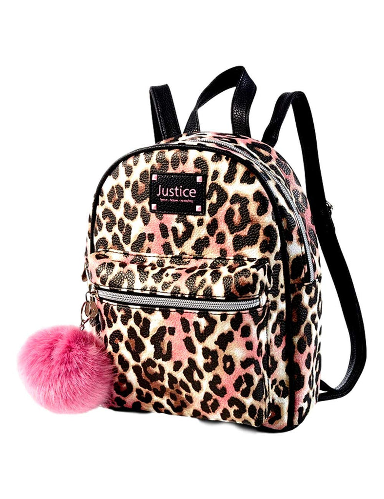 Justice Cheetah Girls Mini Backpack - Cute Mini Travel Daypack Purse with Pompom Keychain - Lightweight and Waterproof Leather Bookbags - backpacks4less.com
