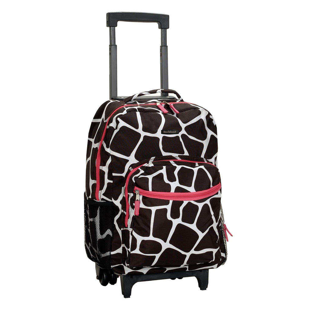 Rockland Luggage 17 Inch Rolling Backpack, Pink Giraffe, One Size - backpacks4less.com