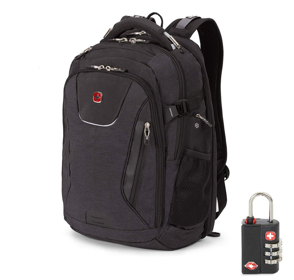 SwissGear 5358 USB ScanSmart Laptop Backpack. Abrasion-Resistant & Travel-Friendly Laptop Backpack with TSA lock exclusive bundle. (Heather Gray) - backpacks4less.com