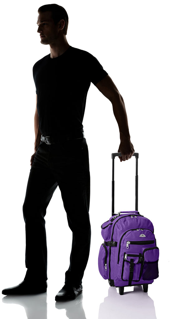 Everest Deluxe Wheeled Backpack, Dark Purple, One Size - backpacks4less.com
