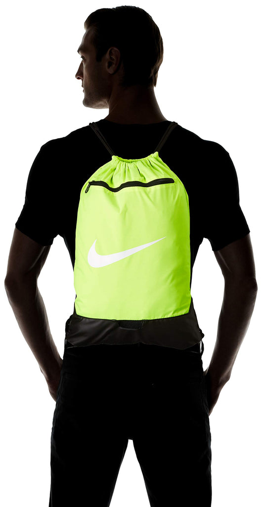 Nike Brasilia Training Gymsack, Drawstring Backpack with Zipper Pocket and Reinforced Bottom, Volt/Volt/Black - backpacks4less.com