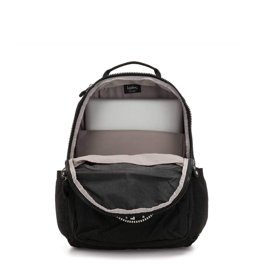 "Kipling Seoul Large 15"" Laptop Backpack Lively Black - backpacks4less.com"