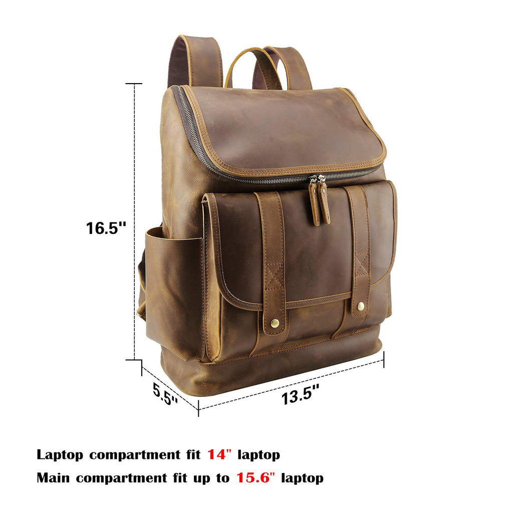 Texbo Vintage Full Grain Cowhide Leather 15.6 Inch Laptop Backpack Travel Office Bag Schoolbag with YKK Metal Zippers - backpacks4less.com