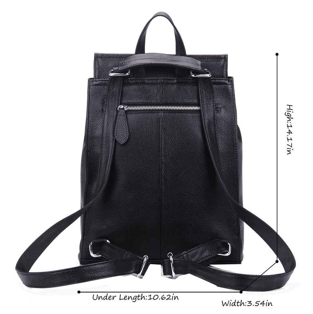 Heshe Womens Leather Backpack Casual Style Flap Backpacks Daypack for Ladies (Black-R) - backpacks4less.com
